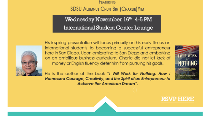 Nov 16: Dr. Yim's Lecture at SDSU – A Part of the International Education Week